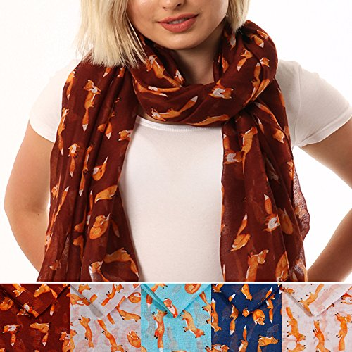 STYLE SLICE Fox Scarf for Women - Grey White Blue Navy Blue Maroon Burgundy Red - Animal Print Scarfs - Womens Ladies Viscose Scarves Shawls Wraps Shrugs - Accessories Cute Gifts Presents under 10