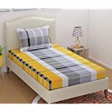 Magnetic Shadow Polycotton 250 TC Fitted Bedsheet (Yellow_Single)