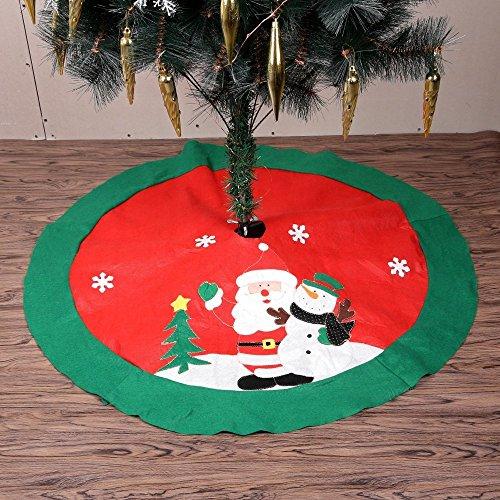 """Zogin 100cm 39.5"""" Falda de decoración para árbol de Navidad - decoración de Papá Noel & muñeco de nieve (rojo y verde)"""