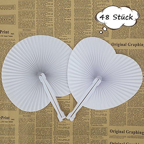 ZesNice 48 Stk. Fächer Hochzeit Gäste Handfächer Papierfächer Weiß Herzförmiges & Rund Papier Faltbar Vintage Gastgeschenk Hochzeit