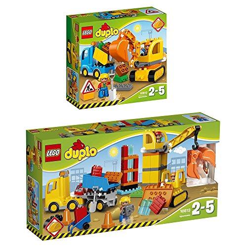 LEGO Duplo 2er Set 10812 10813 Bagger mit LKW + Große Baustelle (Lego Duplo Bau)