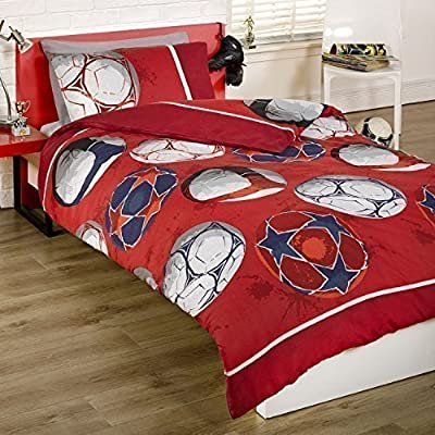 Boys Single Football Duvet Set Red,White, Blue