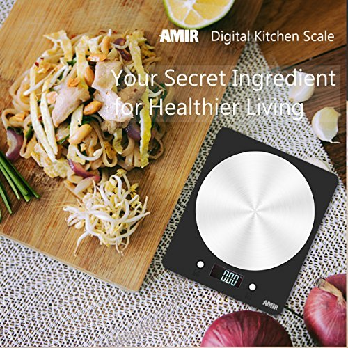 Amir Digital Kitchen Scale, 5000g Electronic Cooking Food Scale with LCD Display for Easter, for Home, Kitchen, Accurate Gram and Slim Design Batteries Included
