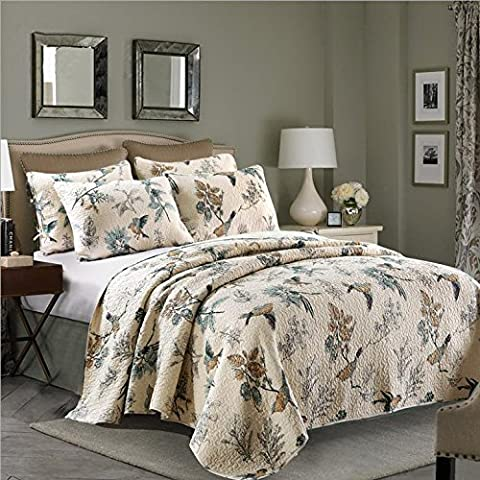 Beddingleer King Size 100% Cotton Flying Birds Printing Quilted Patchwork Bedspread Throw Set, Set of 3(Quilted Set)