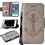 BONROY Ersatz iPhone SE /5S / 5 Leder Hülle,Flip Wallet Case Cover Ersatz iPhone SE /5S / 5 [Kartensteckplätze] [Stand Feature] [Magnetic Closure Snap]-Mermaid Anker grau