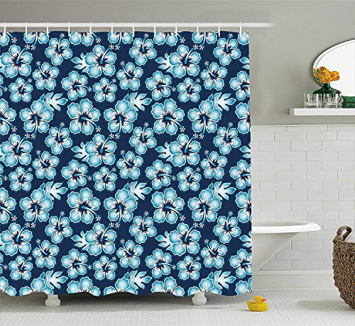 JIEKEIO Navy Shower Curtain, Hibiscus Hawaiian Tropical Island Flowers Petals and Buds Leaves Art Print, Fabric Bathroom Decor Set with Hooks, 60 * 72inchs Long, Dark Blue and Sky Blue -