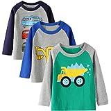 Camiseta infantil, manga larga, para niños, de algodón, informal, cálida, con estampado de dinosaurio en diseño de dibujos an