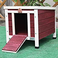 Petsfit Wooden Pet Hutch for Rabbits, Wine Red Rabbit/Guinea Pig/Cat Hide House, Wooden Pet House for Small Animal, 40cm x 50cm x 43cm
