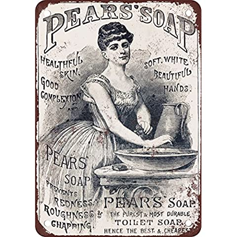Jabón de la pera reproducción de aspecto Vintage Metal Sign