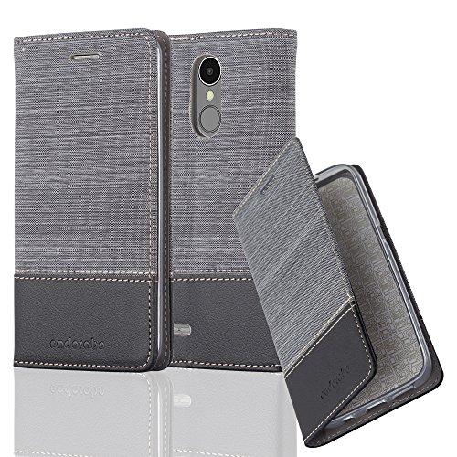 Cadorabo Hülle für LG K8 2017 - Hülle in GRAU SCHWARZ – Handyhülle mit Standfunktion und Kartenfach im Stoff Design - Case Cover Schutzhülle Etui Tasche Book