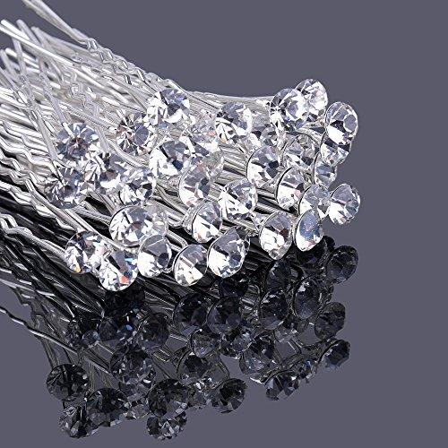 [Weihnachtsgeschenk für Damen]BigTree 20 Stücke Hochzeit Strass Haarclips U-Form Braut Kristall Haarnadeln Haarspange für Hochzeit, Brautjungfern, Kommunion, Konfirmation