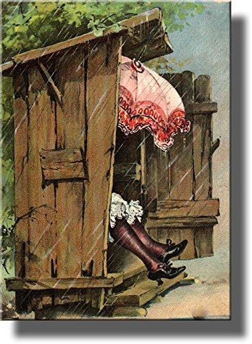 Eine Frau mit Schirm in Damen Nebengebäude WC-Badezimmer Bild auf Gespannte Leinwand Wand Art Decor bereit zum Aufhängen.., baumwolle, 14