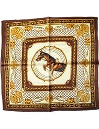 """Nella-Mode Elegantes & modisches NICKITUCH, Tuch, Halstuch Pferde Design: """"Springpferd"""", 53x53 cm; BRAUNER Rand"""