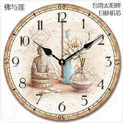 DIDADI Wall Clock Continental americano retro idílico salón simple decoración clásica creative enmudecer enmudecer Relojes de pared, 14 pulgadas, Buda con Lin con un segundo