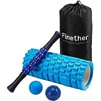 Finether Faszienrolle Set Massagerolle-Set Schaumstoffrolle für Triggerpunkt-Massage, Faszienrolle Stick&Faszienrolle mit Griff und Massageball | Faszienball | stacheliger Ball Ideal für Profis