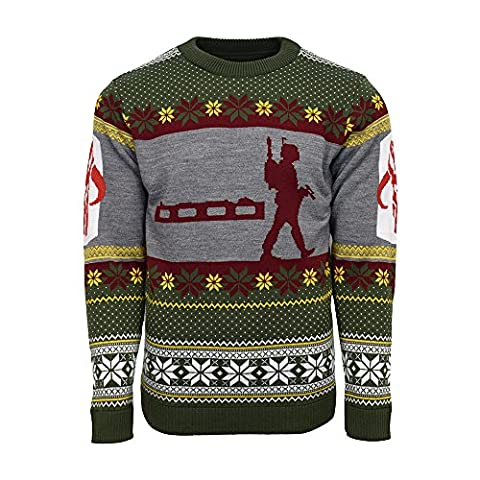 Official Star Wars Boba Fett Nordic Christmas Jumper / Ugly Sweater - UK M / US S (M Und S Christmas Jumper)