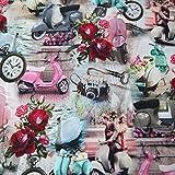 Jersey Stoff Moffas, Scooter, Motorroller Romantisch & Retro - 25 cm Einheiten -