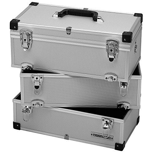 anndora® Werkzeugkoffer 32 Liter Angelkoffer Etagenkoffer 3 Ebenen Silber Alu - 5