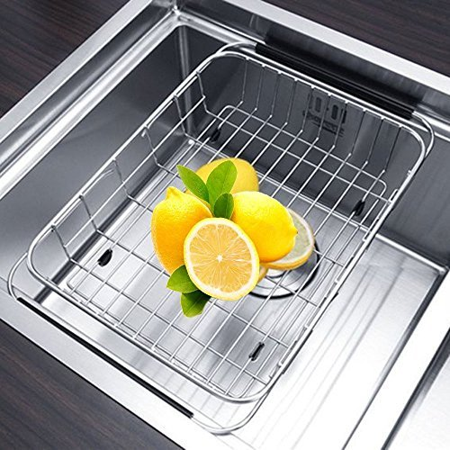 Adjustable Drying Rack, Aiduy Dish Drainer Over Sink Dish Rack Kitchen Stainless Steel Vegetable Fruit Holder