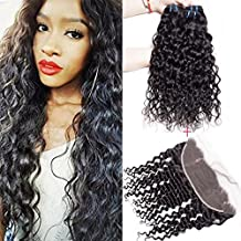 Maxine – Extensiones de pelo virgen brasileño 9A, con ondas, 3 extensiones con cierre