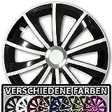 (Farbe & Größe wählbar) 16 Zoll Radkappen GRALO Bicolor (Schwarz-Weiß) passend für fast alle Fahrzeugtypen – universal