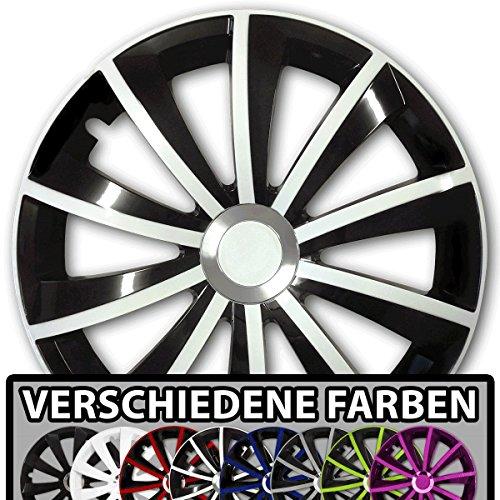 (Farbe & Größe wählbar) 15 Zoll Radkappen GRALO Bicolor (Schwarz-Weiß) passend für fast alle Fahrzeugtypen – universal