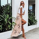 LAEMILIA Jupe Femme Maxi Longue Imprimé Fleur en Mousseline de soie Robe Plage Bohême Pour Voyage Vacances (FR42/44, Rose) - 2