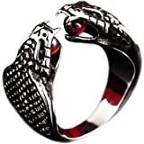 PAMTIER Men's Stainless Steel Gothic Punk Cobra Snake Ring with Ruby Gemstone