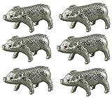 Deko Glücksschweinchen Schwein Schweinchen Glücksbringer Set 6-tlg. Glimmer 9,5 cm L silber Sylvester