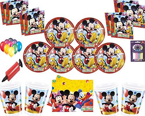 Disney Mickey Mouse Partydekorations-Set Teller Teller Servietten Tischdecke mit gratis Ballonpackung Kerzen Ballonpumpen für 16 Gäste