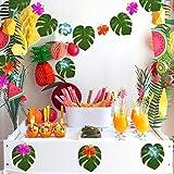 KUUQA 48 Stück Tropical Party Decor Tropische Palme Monstera Blätter Simulation Blatt für Hawaiian Luau Safari Party Jungle Beach Thema BBQ Geburtstag Partydekorationen Liefert 3 Größen - 4