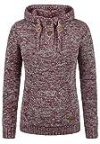 DESIRES Philaria Damen Winter Strickpullover Troyer Grobstrick Pullover mit Kapuze, Größe:XS, Farbe:Wine Red Melange (8985)
