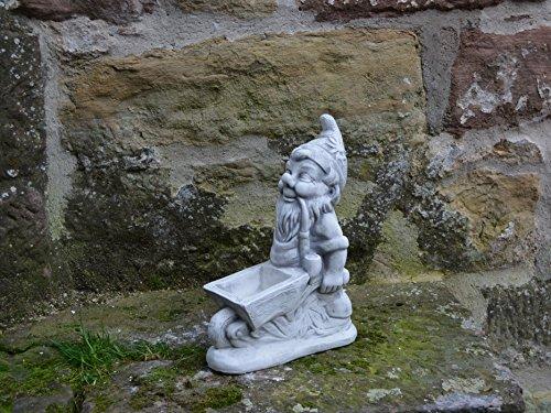 Lustiger massiver Zwerg Gartenzwerg mit Schubkarre aus Steinguss frostfest - 4