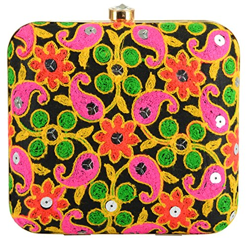 Tooba Handicraft Party Wear Hand Embroidered Box Clutch Bag Purse Potli For Bridal, Casual, Party , Wedding ( carry mirror 6x6)  available at amazon for Rs.735