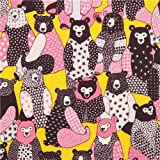 pink-yellow bear pattern fabric from Kokka Japan (per 0.5m multiples)