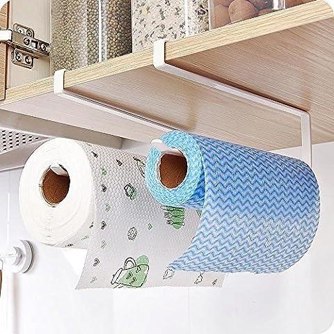 valink Edelstahl unter Schrank Papier Handtuchhalter Rolle Reserve Papier über Tür Aufhängen Unterstützung, robustem Carbon Stahl Haken Regal Organizer für Papier Rolle–Silber, 10,8x 26cm