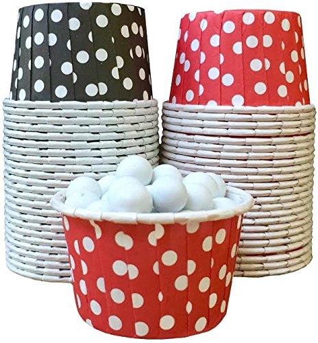 Außerhalb der Box Papier Polka Dot Candy Mutter Becher 48Stück, schwarz, weiß, rot,