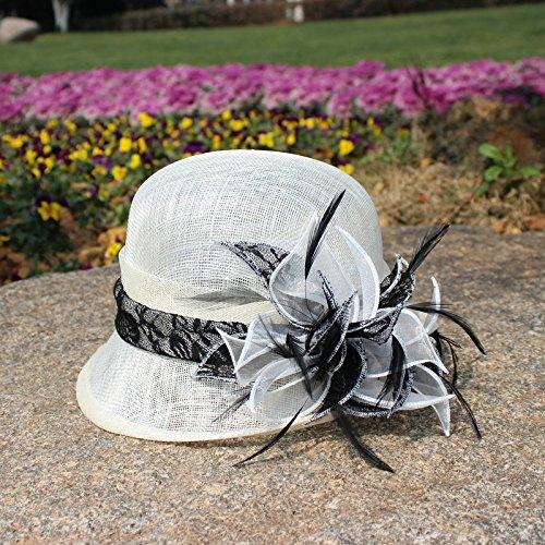 QXX Melone für Lady Sommer Philippine Leinen Bankett Hut Weiß Retro Topper Haar ()