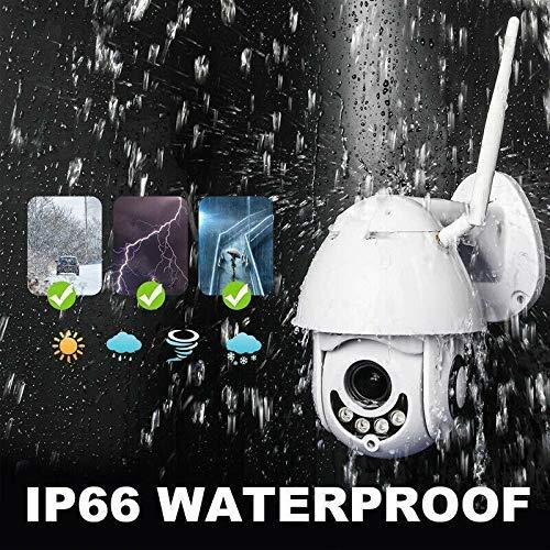 PTZ Kamera Aussen Dome Überwachungskamera Pan 355°/ Tilt 90°, Zwei Wege Audio, IR Nachtsicht, Bewegungserkennung, IP66 Wasserdicht