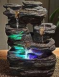 Fuente de agua interior Piedra 35 cm con led multicolor