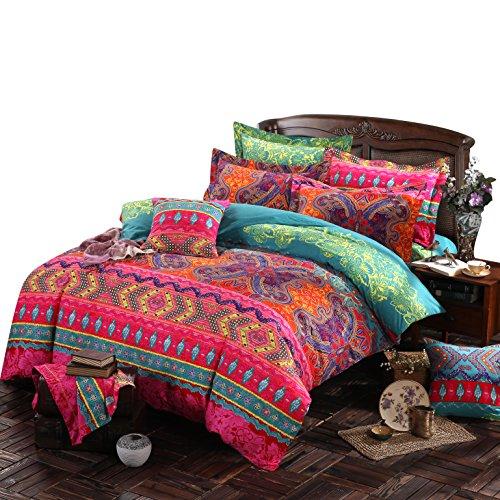 Ustide Home Textile 3-teiliges buntes Boho-Stil-Bettbezug-Set, 100% hochwertige Baumwolle, baumwolle, Color 2, Doppelbett King-size-böhmischen Tröster Set