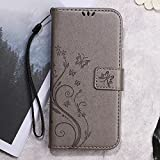 Imprinted Butterfly Flower Wallet Leather Protector Tasche Hüllen Schutzhülle für Meizu m3 - grau