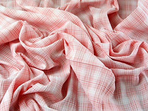 Woven Check Baumwolle & Modal Stretch Seersucker Kleid Stoff pink–Meterware (Baumwoll-stretch-seersucker)