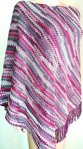 Missoni Poncho donna lana Cape, colorato, Zigzag, taglia unica Purple Taglia unica