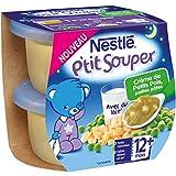 Nestlé Bébé P'tit Souper Crème de Petits Pois Petites Pâtes - Plat Légumes et Féculents dès 12 Mois - 2 x 200g - Lot de 4