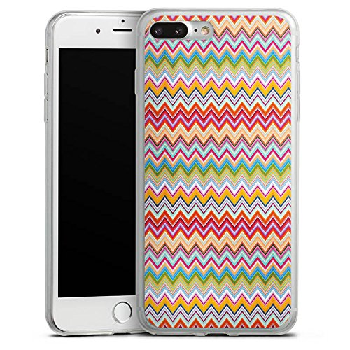 Apple iPhone 8 Slim Case Silikon Hülle Schutzhülle Azteken Zickzack Bunt Muster Silikon Slim Case transparent