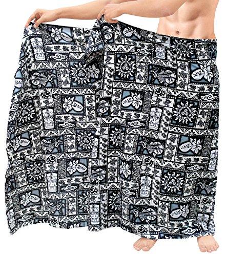 LA LEELA Pareo Wickel Strand Coverups Herren Badeanzug Sarong Schwimmen Aloha Badeanzug schwarz (Herren Hawaii-aloha-shirt)