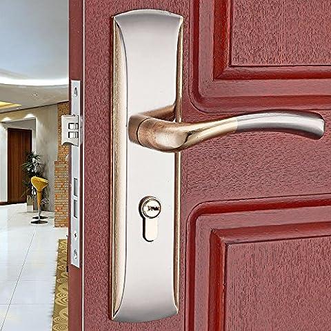vanme Europea Habitación simple de aleación de aluminio cerradura de puerta mango de tirador de puerta interior de la puerta con llave puerta de madera dormitorio Hardware cerraduras
