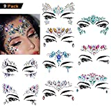 Amaza Gesicht Edelsteine, Temporäre Tattoos Gesichts Aufkleber, Schmucksteine Selbstklebend Gesicht, Glitter Bindi Strass Juwelen Face Tattoo Face Sticker für Glitzer Effekt, Parties, Shows, Make-up (9 Stück)