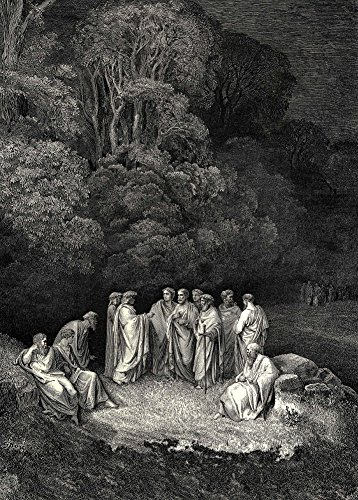Poster, Motiv: Gustave Doré 'Finally, I met a reunion of the school of Homer' von Dantes Göttlicher Komödie, 250 g/m² Hochglanz, A3
